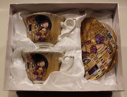 Slika GUSTAV KLIMT - 2 skodelici in 2 krožnika zlata