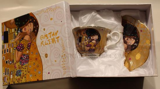 GUSTAV KLIMT - skodelica z krožnikom zlata