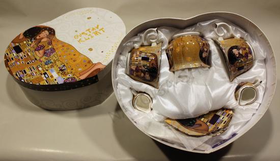 GUSTAV KLIMT - set 2 skodelic+krožnikov+žlic+ skodelica za sladkor in mleko