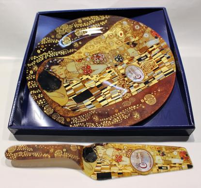 Slika GUSTAV KLIMT - Steklen pladenj za torto z priloženo lopatko