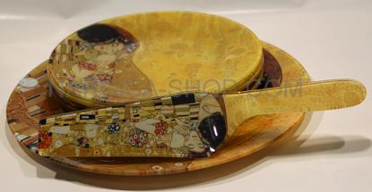 Slika GUSTAV KLIMT - set 6. steklenih desertnih krožnikov+ lopatka+veliki krožnik za pecivo