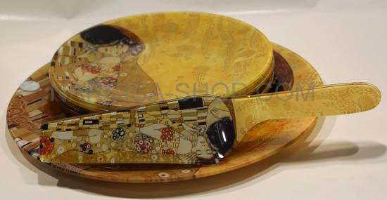 GUSTAV KLIMT - set 6. steklenih desertnih krožnikov+ lopatka+veliki krožnik za pecivo