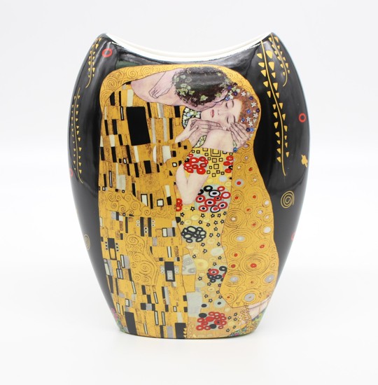 GUSTAV KLIMT - keramična vaza črna podlaga