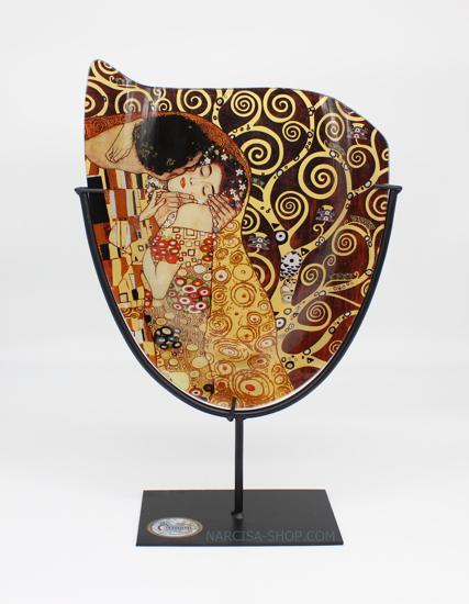 GUSTAV KLIMT - steklena vaza na kovinskem stojalu