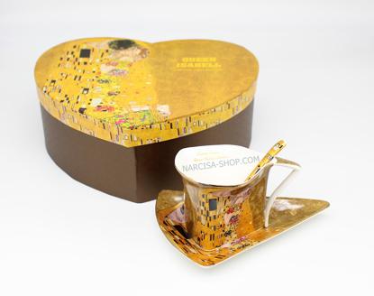 Bild von GUSTAV KLIMT - set trikotnih skodelic,krožnikov in žličk zlat