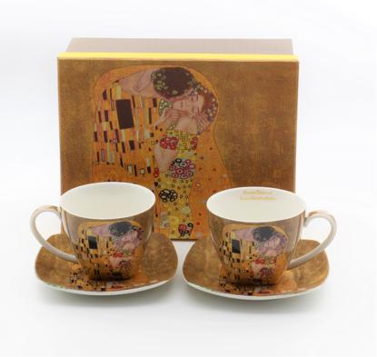 Bild von GUSTAV KLIMT - 2 Tassen und 2 Teller Gold