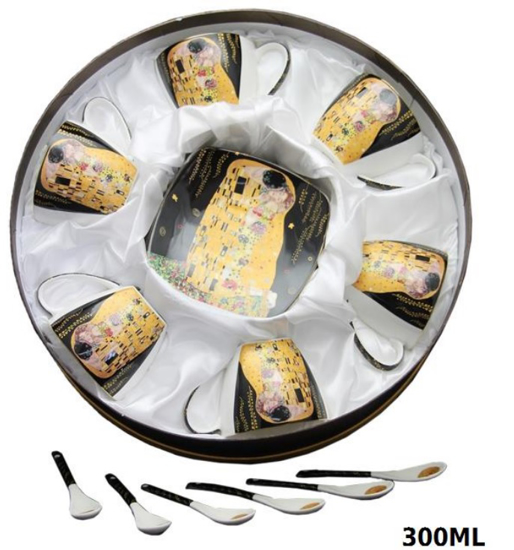 Bild von  GUSTAV KLIMT - Set mit 6 Tassen + 6 Tellern + 6 Teelöffeln schwarz